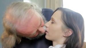 Grey bearded man is licking the tits and fingering her worthy cum-hole crack